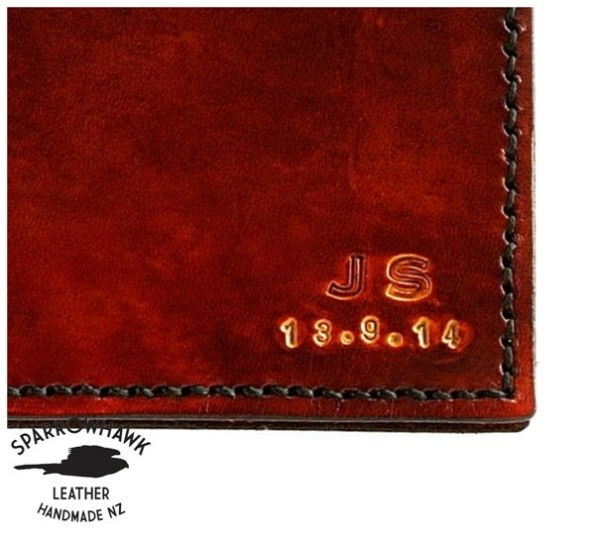 Sparrowhawk Leather Brown Mens wallet made in NZ intials date