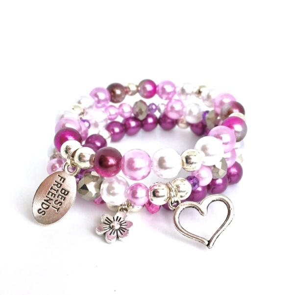 Purple Best Friends BFF Stack Bead Bracelet for kids