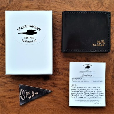 Sparrowhawk Leather Black wallet with initials & date