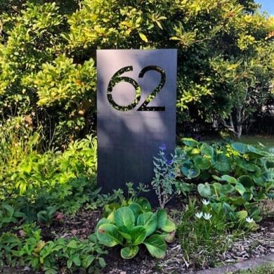 Large inground corten house number