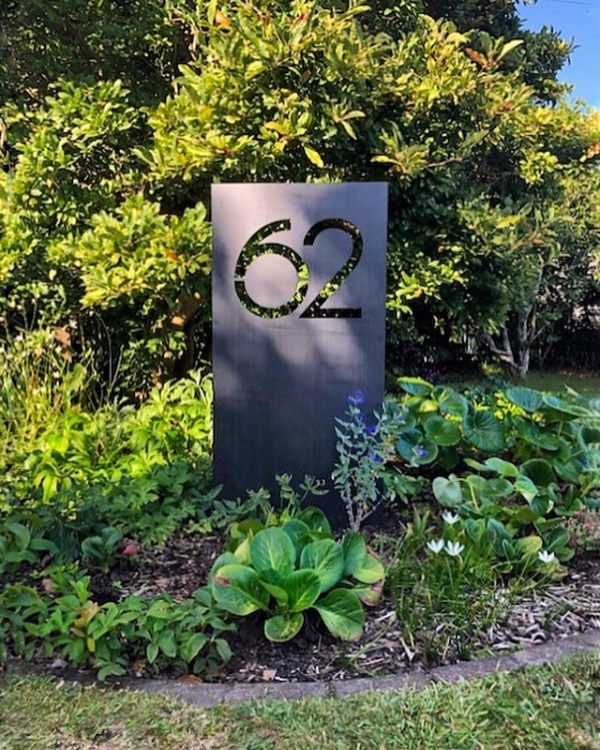 Large inground corten house number