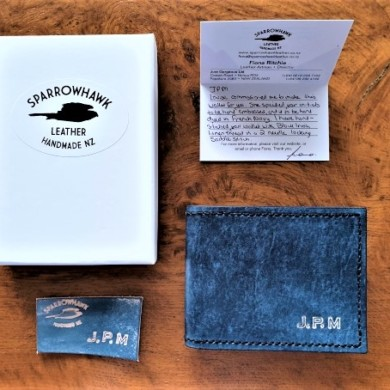 Sparrowhawk Leather hand made in NZ Navy Wallet