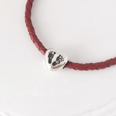 Heart print charm bracelet