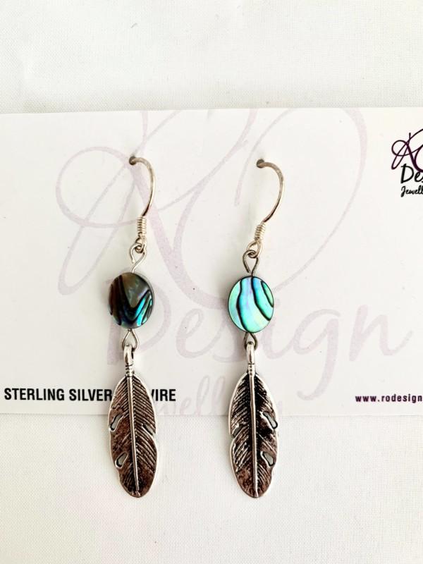 Paua feather earrings