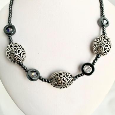 Koru patterned beaded necklace