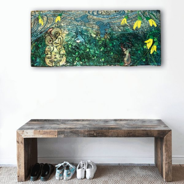 Handmade slumped glass wall art