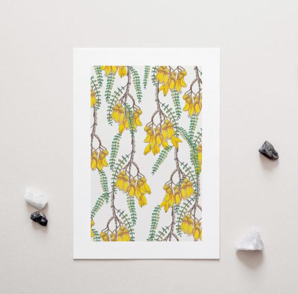 Kowhai Art Print by NZ Artist Penny Royal