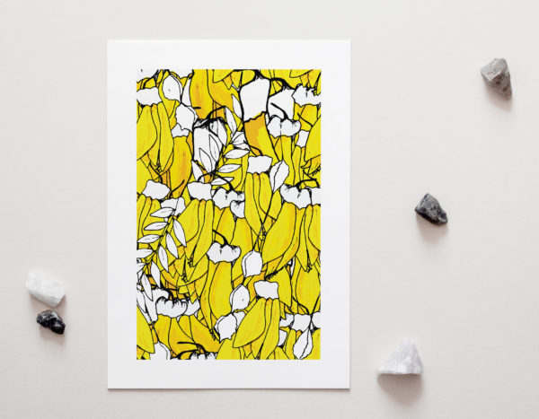 Yellow Floral Art Print for sale