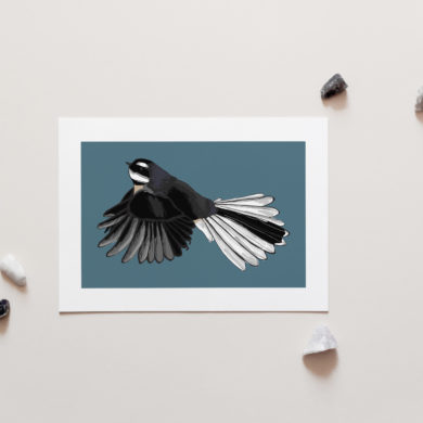 Piwakawaka / Fantail Art Print by NZ Artist Penny Royal