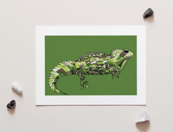 Tuatara Art Print by NZ Artist Penny Royal