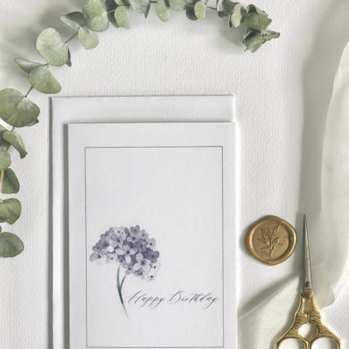 Happy Birthday Card Calligraphy Hydrangea