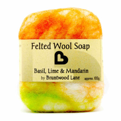 basil, lime and mandarin felted soap by Bruntwood Lane